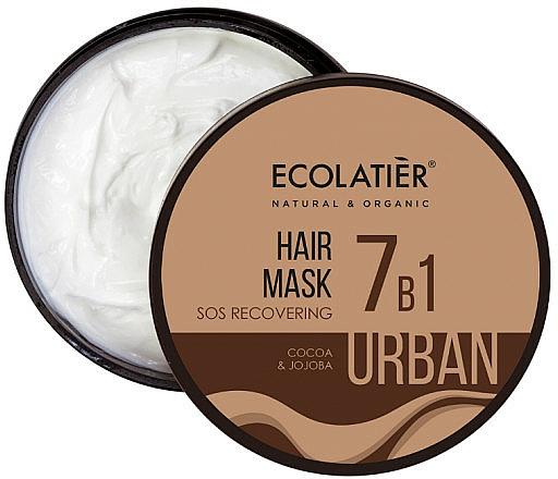 """Maschera per capelli """"SOS Restauro 7 in 1. Cacao e jojoba"""" - Ecolatier Urban Hair Mask"""