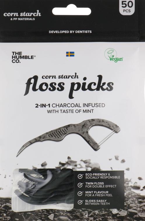 Filo interdentale con supporto, nero - The Humble Co. Dental Floss Picks