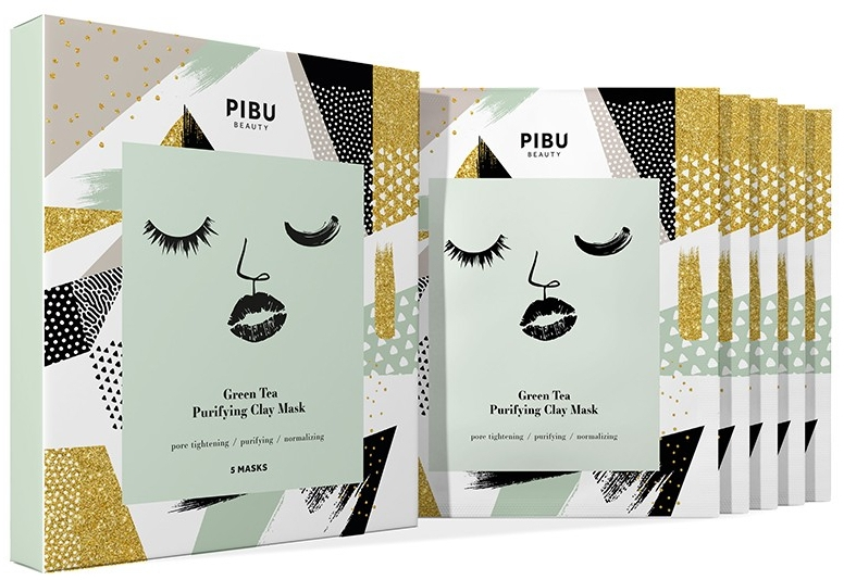Set - Pibu Beauty Green Tea Purifying Clay Mask Set (f/mask/5x18g) — foto N1