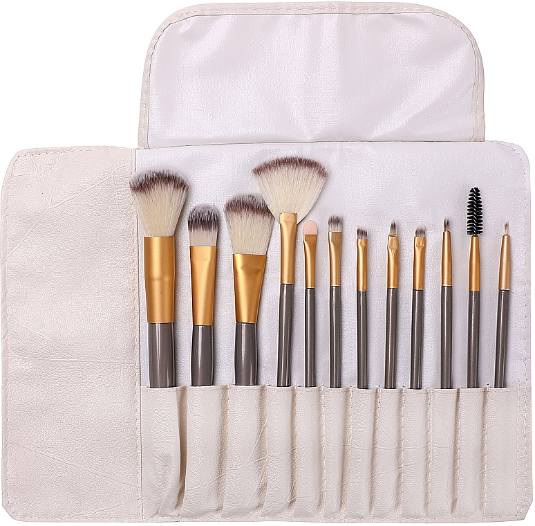 Set pennelli trucco professionali in custodia, 12 pz - Lewer