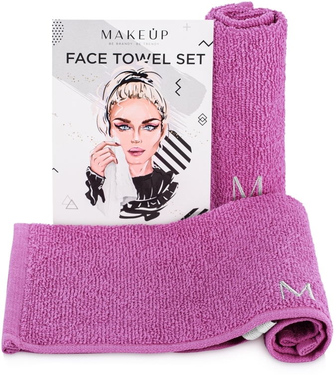 "Set asciugamani da viaggio, viola ""MakeTravel"" - Makeup Face Towel Set"