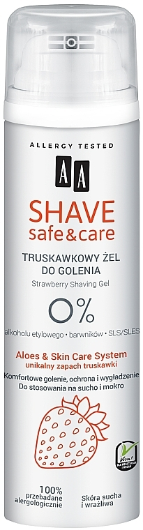Gel da barba con estratto di fragola - AA Shave Safe & Care Strawberry Shaving Gel
