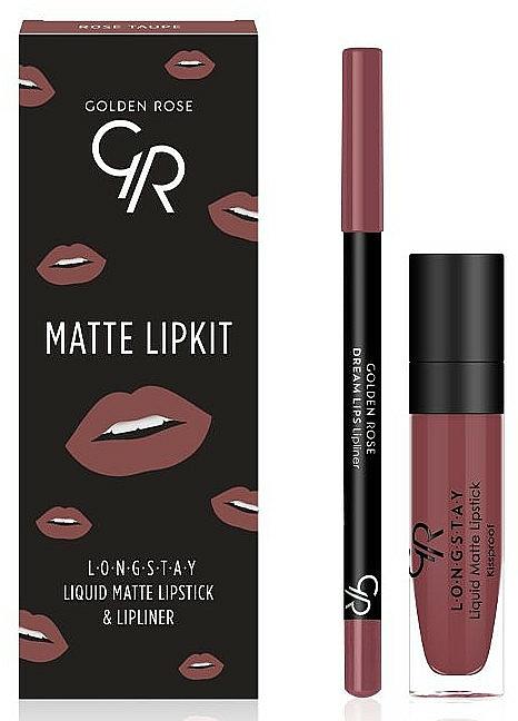 Set per labbra - Golden Rose Matte LipKit Rose Taupe (lipstick/5.5 ml + lipliner/1.4g)