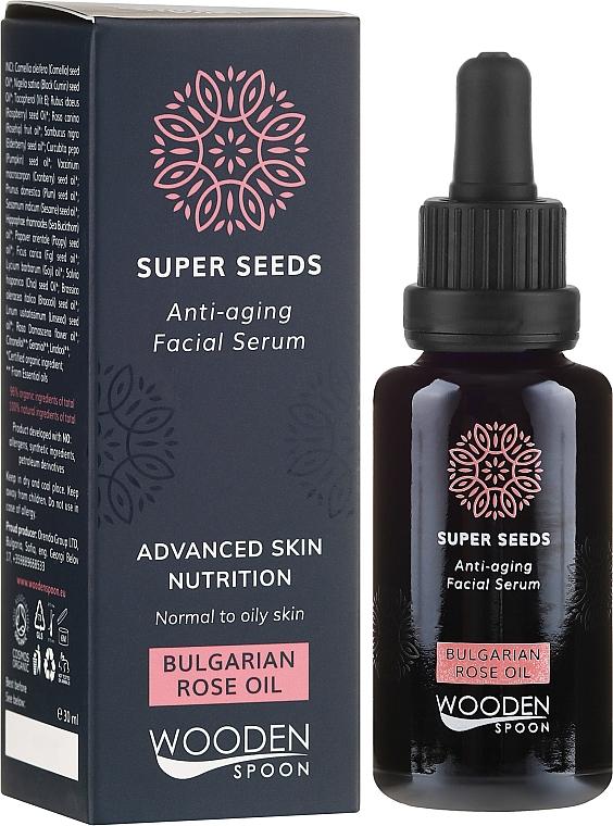 Siero viso - Wooden Spoon Super Seeds Bulgarian Rose Oil Anti-aging Facial Serum