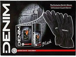 Profumi e cosmetici Denim Black - Set (ash/lot/100ml+deo/150ml+gloves)