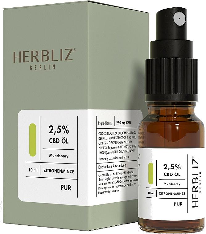 "Olio-spray collutorio ""Menta e limone"" 2.5% - Herbliz CBD Oil Mouth Spray 2,5% Lemon Mint — foto N2"