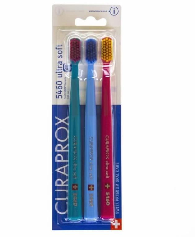 Set spazzolini da denti, 5460 Ultra Soft, rosso, turchese, blu - Curaprox
