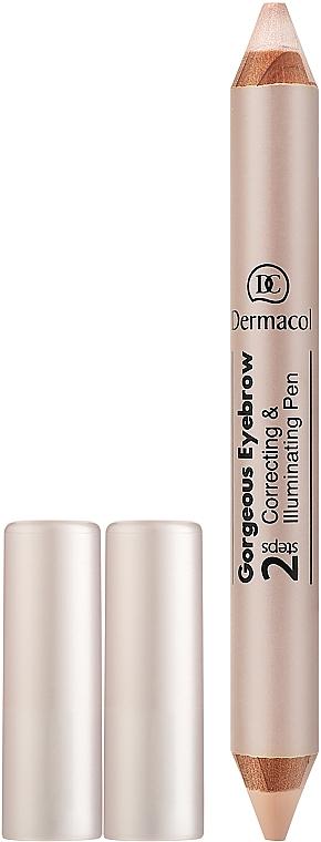Correttore-stick illuminante per sopracciglia - Dermacol Gorgeous Eyebrow Correcting Illuminating Pen