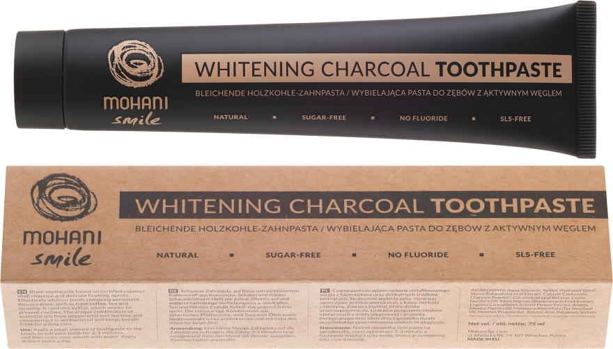 Dentifricio sbiancante naturale - Mohani Smile Whitening Charcoal Toothpaste