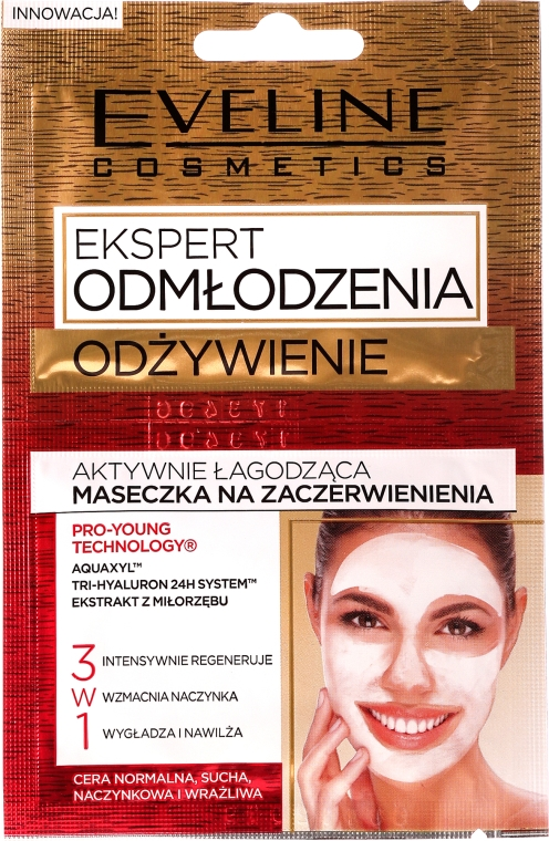 Maschera anti-rossore 3 in 1 - Eveline Cosmetics Expert Nutrition Actively Soothing Face Mask for Redness