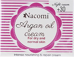 Profumi e cosmetici Crema viso da notte all'argan e acido ialuronico 30+ - Nacomi Moroccan Argan Night Cream