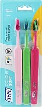 Profumi e cosmetici Set spazzolini da denti, 3 pezzi, rosa + verde chiaro + rosa chiaro - TePe Colour Soft