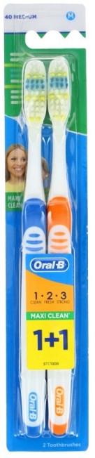 Set spazzolini da denti (medio, blu + arancione) - Oral-B 1 2 3 Maxi Clean 40 Medium 1+1 — foto N1