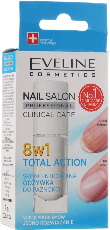 Prodotto per il restauro delle unghie 8 in 1 - Eveline Cosmetics Nail Salon Clinical Care 8 in 1