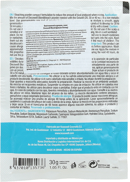 Polvere schiarente, blu - Kosswell Professional Decowell Blond — foto N2