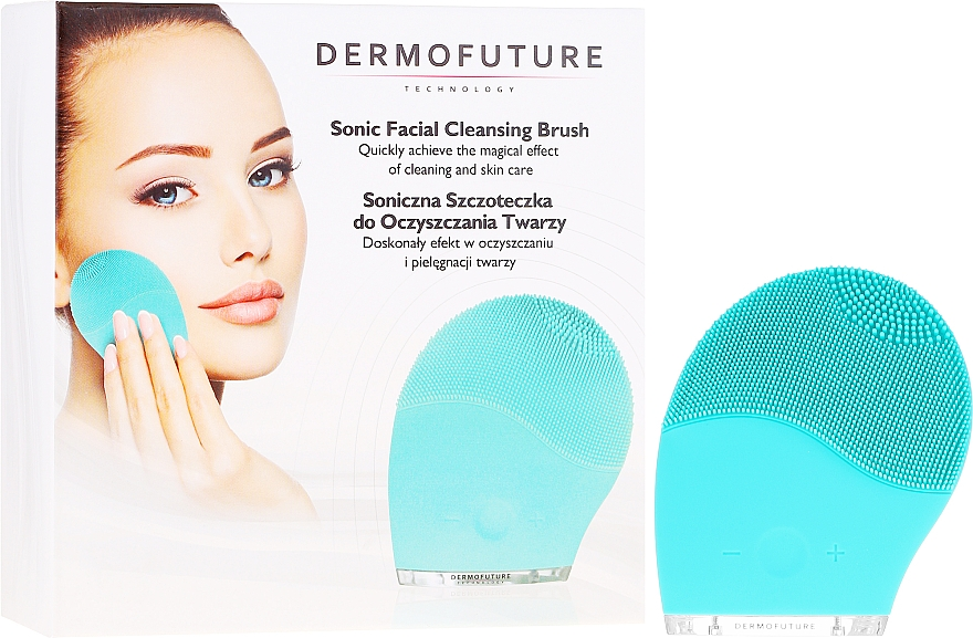 Spazzola esfoliante per la pulizia del viso, blu - Dermofuture Technology
