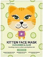 """Profumi e cosmetici Maschera in tessuto con estratto di cetriolo ed aloe """"Gatto"""" - 7th Heaven Face Food Kitten Face Mask Cucumber & Aloe"""