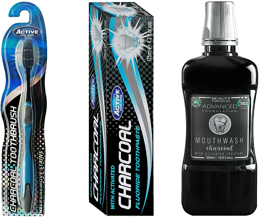 Set - Beauty Formulas Charcoal (mouthwash/500ml + toothbrush/1pcs + toothpaste/125g)