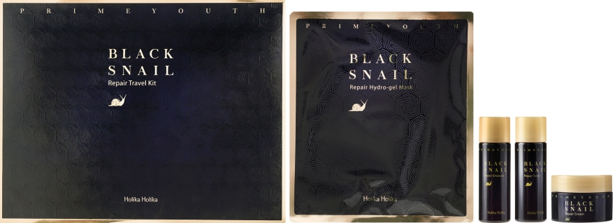 Set - Holika Holika Prime Youth Black Snail Skin Care Kit (mask + cr/18ml + tonic/31g + emulsion/31ml)