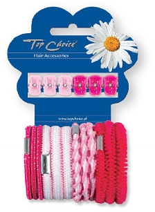 Set di mini pinze ed elastici per capelli 28113, 6+12 pezzi, rosa - Top Choice