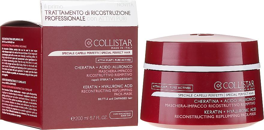 Maschera rigenerante per capelli - Collistar Pure Actives Keratin + Hyaluronic Acid Reconstructive Replumping Mask