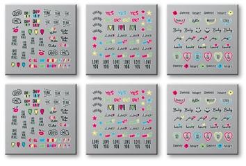 Adesivi per unghie, 6 pz, 42300 - Top Choice Words Neon — foto N1