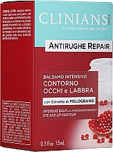 Profumi e cosmetici Crema-balsamo antirughe per contorno occhi e labbra con estratto di melograno - Clinians Antirughe Quotidiana