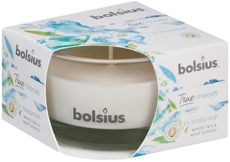 """Candela profumata in bicchiere """"Tè bianco e foglie di menta"""", 50/80 mm - Bolsius True Moods Candle"""