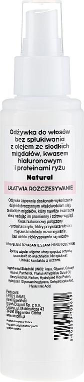 Condizionante per capelli con olio di mandorle, senza risciacquo - Nacomi No-Rinse With Sweet Almond & Hyaluronic Acid Conditioner — foto N2