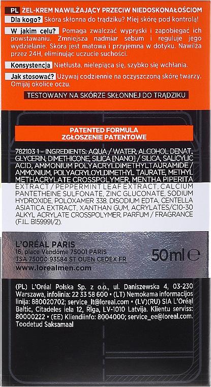 Gel-crema viso anti-imperfezioni della pelle - L'Oreal Paris Men Expert Pure Power — foto N3