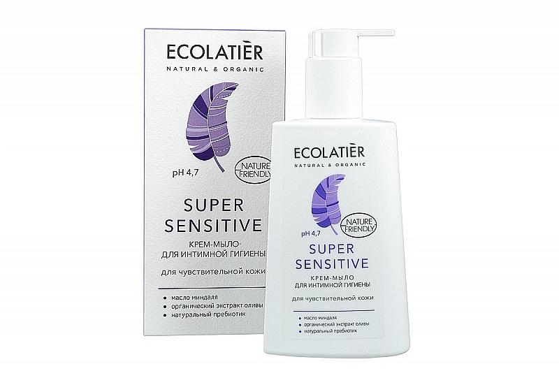 Sapone cremoso per l'igiene intima per pelli sensibili - Ecolatier Super Sensitive
