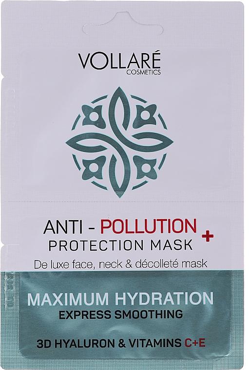 """Maschera viso """"Acido ialuronico idratante + vitamine C ed E"""" - Vollare Anti-Pollution Protection Mask"""