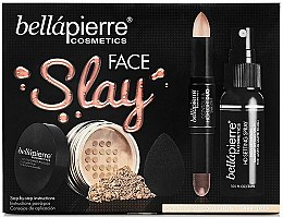 Profumi e cosmetici Set - Bellapierre Face Slay Kit Dark/Deep (stick/8.6g+powder/6.5g+spray/70ml+sponge/1pcs)