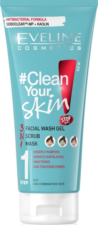 Gel detergente viso 3 in 1, scrub e maschera per pelli grasse e miste - Eveline Cosmetics #Clean Your Skin Facial Wash Gel + Scrub + Mask