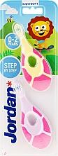 Profumi e cosmetici Spazzolino da denti per bambini, 0-2 anni, rosa + giallo-rosa - Jordan Step By Step Soft & Gentle