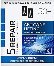 Profumi e cosmetici Crema viso nutriente e rigenerante 50+, da notte - AA Age Technology 5 Repair Lifting Cream 50+