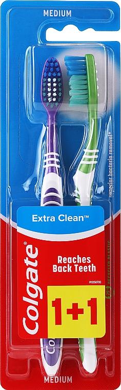 """Spazzolini da denti, medio duri """"Extra Clean"""", viola + verde, con strisce bianche - Colgate Extra Clean Medium"""