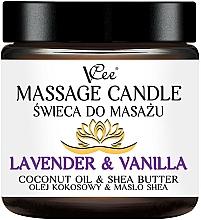 Profumi e cosmetici Candela da massaggio con lavanda e vaniglia - VCee Massage Candle Lavender & Vanilla Coconut Oil & Shea Butter
