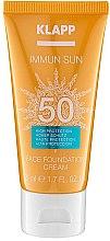 Profumi e cosmetici Fondotinta protezione solare viso SPF50 - Klapp Immun Sun Face Foundation Cream SPF50