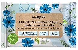 Profumi e cosmetici Salviette detergenti per viso e corpo con idrolato di fiordaliso, 15 pezzi - Marion