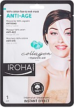 Profumi e cosmetici Maschera viso in tessuto - Iroha Nature Anti-Age Collagen 100% Cotton Face & Neck Mask