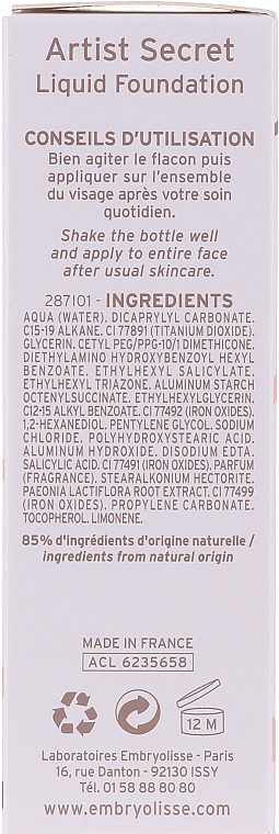 Fluido viso - Embryolisse Secret De Maquilleurs Liquid Foundation Spf 20 — foto N3