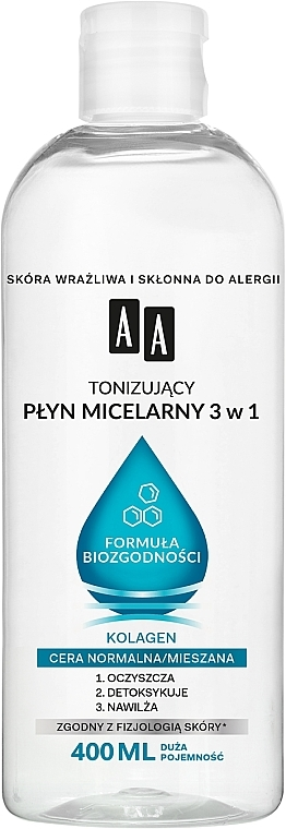 Acqua micellare 3 in 1 per la pelle mista e normale - AA Biocompatibility Formula