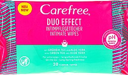 "Profumi e cosmetici Salviette per l'igiene intima ""Aloe"", 20 pz - Carefree Duo Effect"