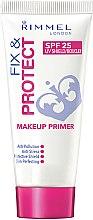 Profumi e cosmetici Primer viso - Rimmel Fix & Protect Makeup Primer SPF25
