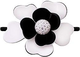 Profumi e cosmetici Elastico per capelli 507, nero con fiore - Moliabal Milano Black White Diamond Flower Hair Tie