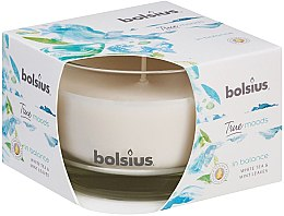 "Profumi e cosmetici Candela profumata in bicchiere ""Tè bianco e foglie di menta"", 63 / 90mm - Bolsius True Moods Candle"