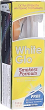 "Profumi e cosmetici Set ""Per fumatori"", spazzolino verde chiaro - White Glo Smokers Formula Whitening Toothpaste (t/paste 100 ml + t/brush + toothpicks)"