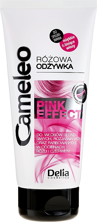 Balsamo rosa per capelli biondi, grigi, decolorati - Delia Cosmetics Cameleo Pink Effect