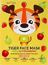 Profumi e cosmetici Maschera in tessuto con estratto di mela e fragola - 7th Heaven Face Food Tiger Face Mask Apple & Strawberry